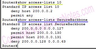 show access list router command