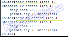 show ip access list command router
