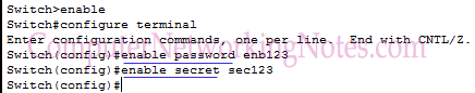 swtich configuration enable mode password