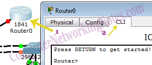 Access CLI prompt of Router in Packet Tracer
