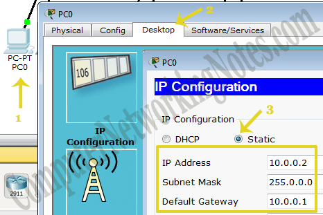 Assign IP address to PC-PT in packet tracer