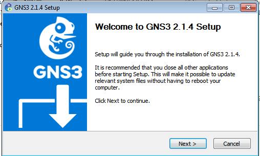 welcome screen gns installation wizard