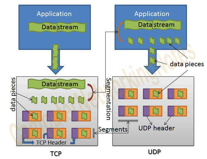 TCP and UDP segmentation process