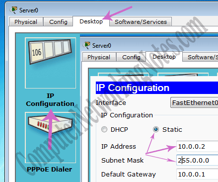 assign ip addres packet tracer