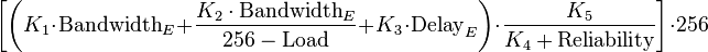EIGRP Composite metric calcuation formula