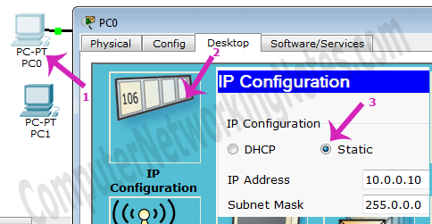 ip configuration in packet tracer