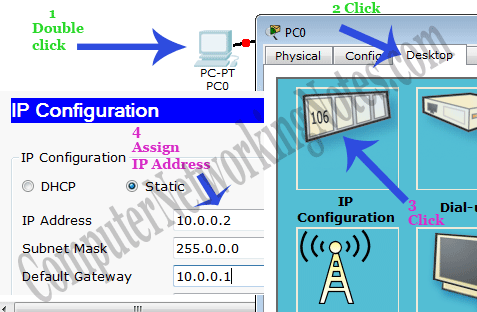 assign ip address to computer in packet tracer
