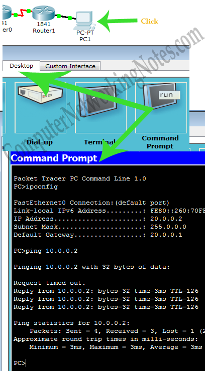 ping command test in packet tracer