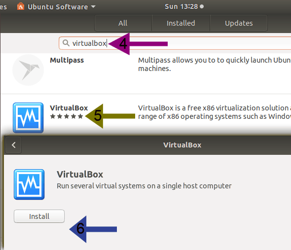 installing virtualbox from gui