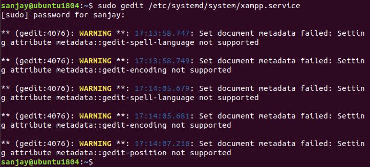 gedit bug warning message