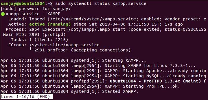 xampp service status