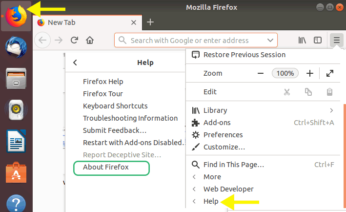 firefox help option