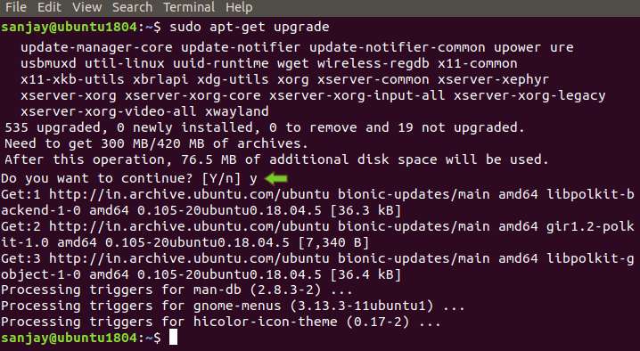 sudo apt-get upgrade