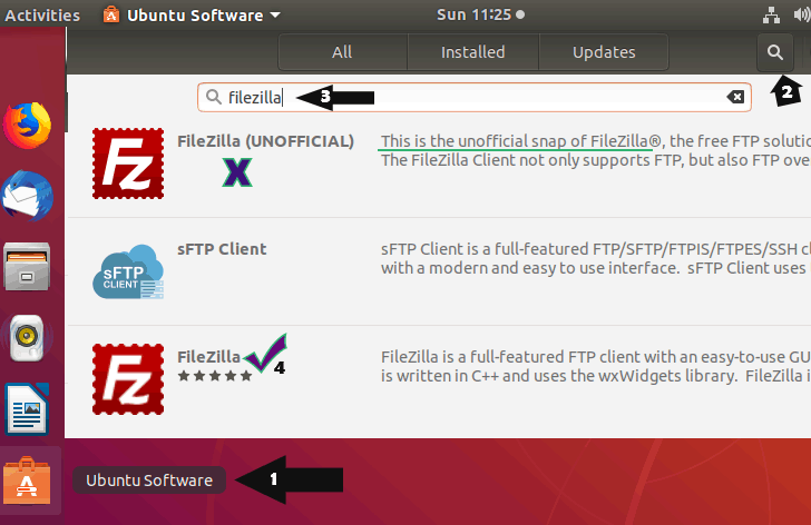 searching filezilla in ubuntu software center