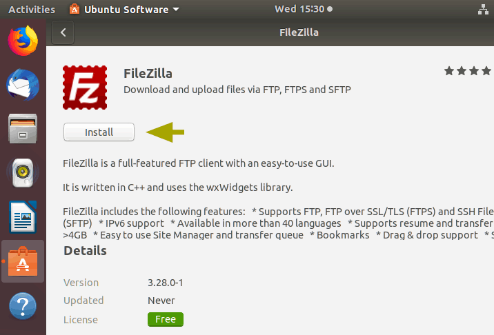 installing filezilla from ubuntu software center