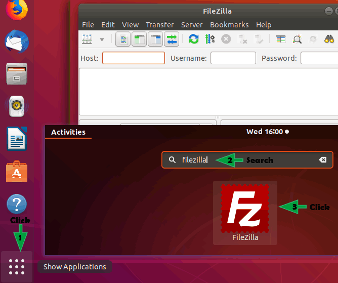 starting filezilla