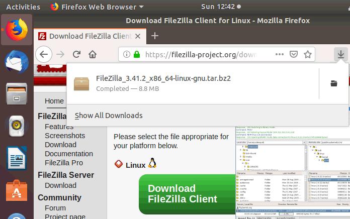 ubuntu open filezilla command line
