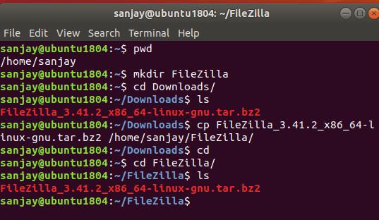 copy filezilla zip file in home directory