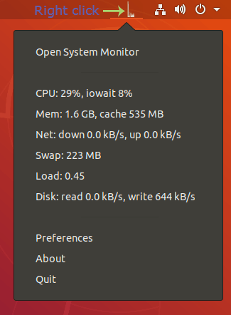 Ubuntu show CPU and Memory usages in Top Bar