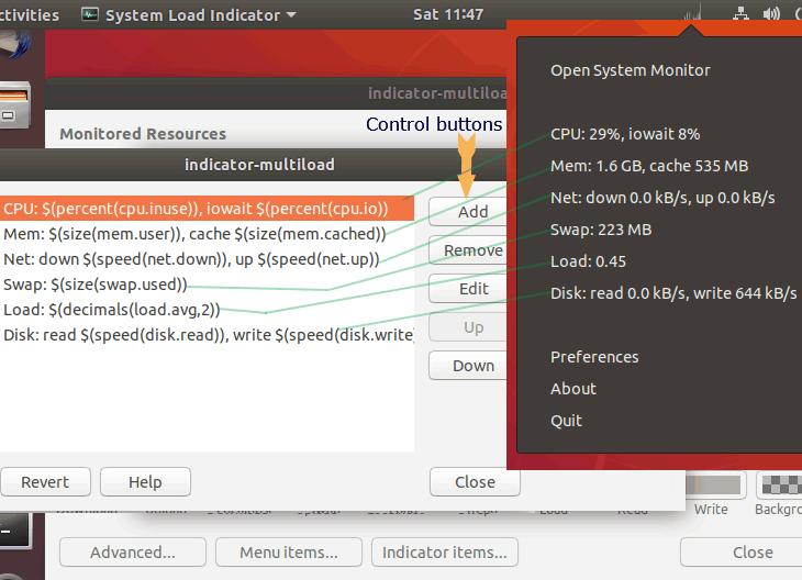 Ubuntu show CPU and Memory usages in Top Bar