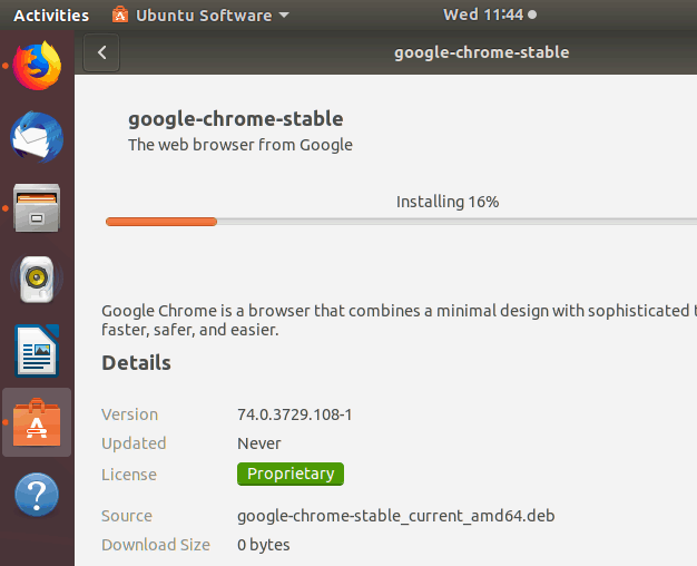 installing chrome from gui