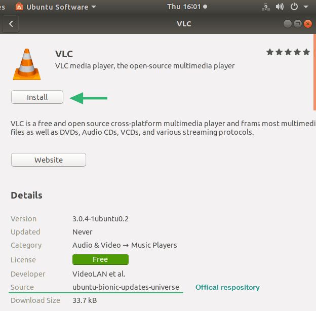detailed description screen of VLC