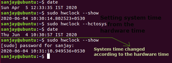 syncing hardware time from the system time