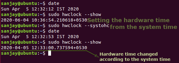 syncing system time from hardware time