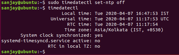 timedatectl ntp-off