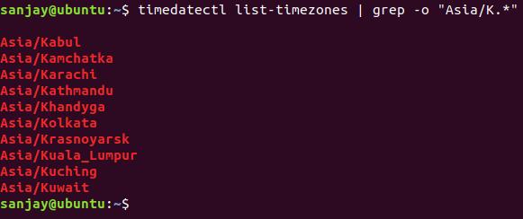 listing timezone