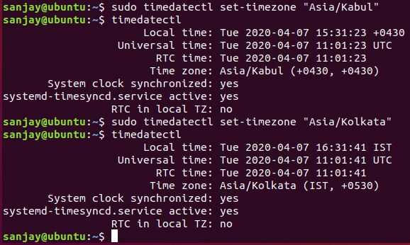 setting new timezone