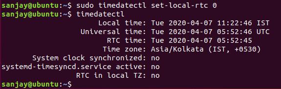 sudo timedatectl set-local-rtc 0