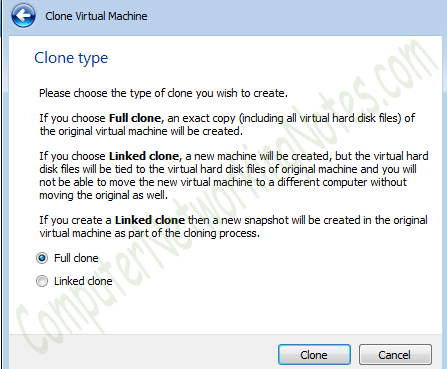 virtual machine full clone option