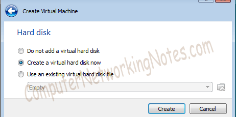 Vitual box create new hard disk