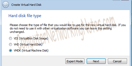 Virtual box hard disk type VMDK