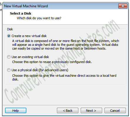 virtual machine create new hard disk