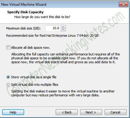 virtual machine hard disk size
