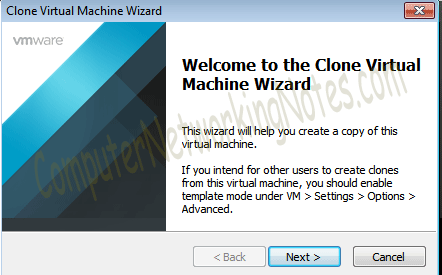 virtual machine clone wizard