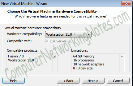 hardware compatilitbity vmware virtual machine