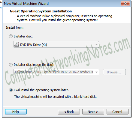 vmware virtual machine installation type