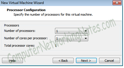 virtal machine processor type vmware
