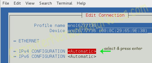 nmtui automatic option