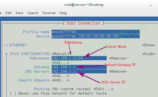 nmtui ip configuration
