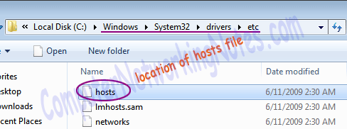 hosts file location in windows system