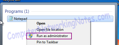 notepad run as administrator