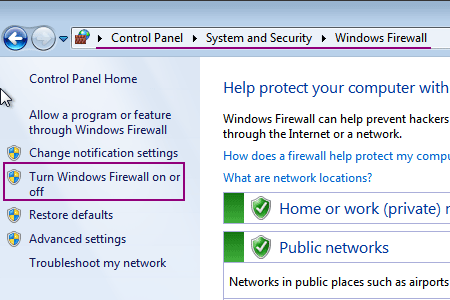 windows firewall option