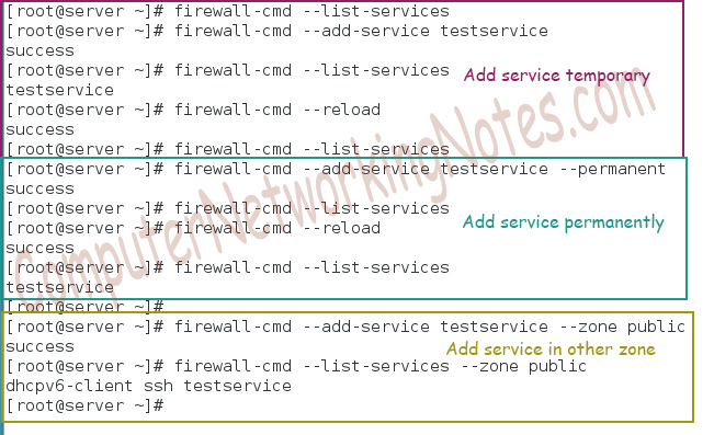 firewall cmd add service in zone