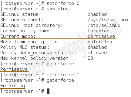 SELinux setenforce command