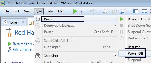 power off vmware machine