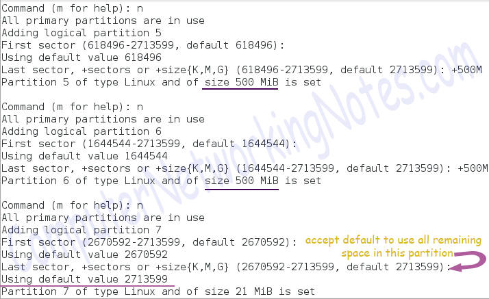 fdisk create logical partition